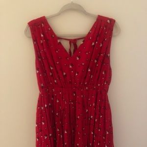 Red and black floral Madewell dress